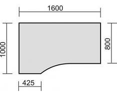 PC-Schreibtisch links höhenverstellbar, C Fuß Blende optional, 1600x1000x680-820, Buche/Silber, Geramöbel