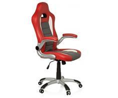 hjh OFFICE 621705 Gaming Drehstuhl RACER SPORT Kunstleder Rot/Grau Chefsessel mit hoher Rückenlehne