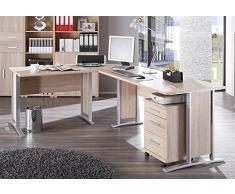 Arbeitszimmer komplett Büromöbel Komplettset in Eiche Sonoma mit großem Schreibtisch / Winkelschreibtisch