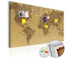 murando - Weltkarte Pinnwand 120x80 cm - Bilder mit Kork Rückwand - 1 teilig - Leinwandbilder - Korktafel - Fertig Aufgespannt - Wandbilder XXL - Kunstdrucke - Karte Welt Landkarte Kontinent k-B-0054-p-e