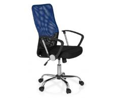 hjh OFFICE 685336 Bürostuhl Drehstuhl FOLEY NET Netzstoff schwarz blau, Bürodrehstuhl ergonomisch, gute Polsterung, mittelhohe Rückenlehne, feste Armlehnen, Schreibtischstuhl, Büro