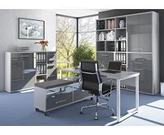 Komplettes Arbeitszimmer - Büromöbel Komplett Set Plus Modell 2017 MAJA SET+ in Eiche Natur / Grauglas (SET 6)