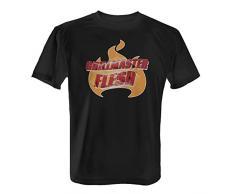 Fashionalarm Herren T-Shirt - Grillmaster Flesh | Fun Shirt mit Flammen & Blitz Motiv Geburtstag Geschenk Idee Grill Party BBQ Fleisch Grillen, Farbe:Schwarz;Größe:XS