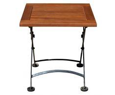 Spetebo Eukalyptus Gartentisch mit Metall Gestell - 45 cm - Garten Klapptisch Holz Bistrotisch Beistelltisch
