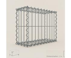 Steinkorb-Gabione eckig, Maschenweite 5 x 20 cm, Tiefe 20 cm, Spiralverschluss, galvanisch verzinkt (50 x 40 x 20 cm)