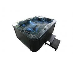 Home Deluxe - Outdoor Whirlpool - Black Marble inkl. Einstiegsleiter und Thermoabdeckung - Maße: 210 x 160 x 85 cm - Inkl. 27 Massagedüsen und 9 Lichtquellen