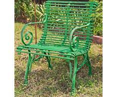 Casa Padrino Gartenstuhl aus Schmiedeeisen 65 cm x 60 cm Gartenmöbel, Farbe:grün