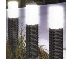 qudos Marketing s109br 5 cm Durchmesser 39 cm hoch Stahl Rattan Stil Garten Solarleuchten, Set 5, warm weiß/braun