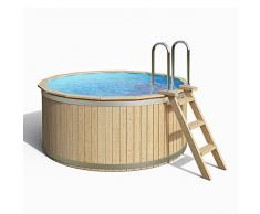 ISIDOR Holzpool Clemens, Swimmingpool mit Edelstahl-Holzleiter 240x107cm