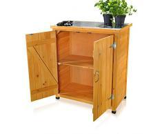 Gartenschrank / Geräteschrank mit 2 Türen 75 cm × 40 cm × 90 cm (B x L x H)