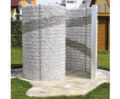 bellissa Gabionen-Schneckendusche - 95630 - Gartendusche in Spiralform - Dekorative Umkleide-Gabione - 230 x 180 x 200 cm