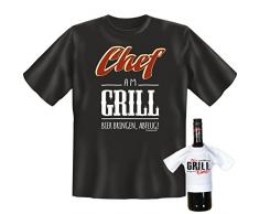Set mit Fun Grill T-Shirt: Chef am Grill + Mini T-Shirt It´s Grill Time Farbe: Schwarz - Goodman Design ®