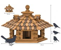 dobar 45310e Rustikales Vogelfutterhaus im Blockhaus-Stil mit dekorativem Holzschindeldach, Vogelhaus mit 6 Einfluglöchern, Kiefer, XXL, braun