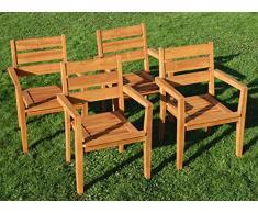 ASS 4Stk Echt Teak Design Gartensessel Gartenstuhl Sessel Stapelsessel Gartenmöbel Holz stapelbar Sehr Robust Modell: JAV-Kingston von