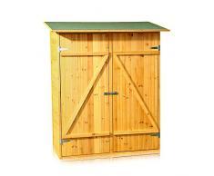 Melko Gerätehaus XXL Geräteschrank Geräteschuppen Gartenschrank, aus Holz, braun, 162 x 140 x 75 cm