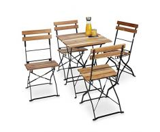 Relaxdays Gartenstuhl 4er Set, klappbar, Metall, Naturholz, ohne Armlehnen, H x B x T: 84 x 42 x 44 cm, naturfarben