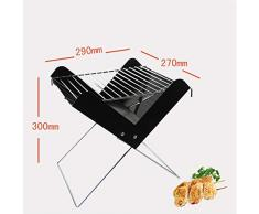 RXRENXIA Notebook Faltgrill-Portable Picknick-Grill mit Chrome Plated Cooking Grid, Grill Grill Leichtgewichtige Camping Portable Grill Outdoor Garden Balcony Outdoor 2-3 People-schwarz
