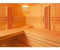 Massivholzsauna Eckeinstieg 234 x 206 x 204 Infrarot Saunaofen finnischer Betrieb