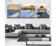 ZXCVWY 3 Platten Malerei Moderne Wandkunst Lange Brücke Holzpavillon Seascape Gedruckt Bild Für Wohnzimmer Wohnkultur Leinwand