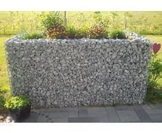 HOCHBEET Steinkorb-Gabione eckig, Maschenweite 5 x 10 cm, Länge 130 cm, Wandstärke 15 cm, Spiralverschluss, galvanisch verzinkt (130 x 100 x 60 cm)