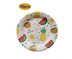 HoneybeeLY Einweg-Teller - Papierteller mit Motiv Wassermelone Ananas - Papierteller für Einweggrill - Partyteller Geburtstag - 10 Stück