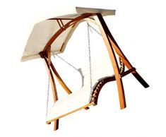 Design Hollywoodschaukel Gartenschaukel Hollywoodliege Doppelliege aus Holz Lärche mit Dach Modell: ARUBA von AS-S
