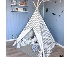 Tiny Land Tipi Kinderzimmer Spielzelt für Kinder drinnen draußen Segeltuch Kinderzelt Indianer (Grauer Chevron 160cm Hoch )