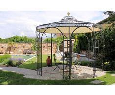 ELEO Siena wunderschöner Gartenpavillon rund romantischer Rosenpavillon aus Metall I Durchmesser 2,1 m I Rundpavillon Design roh Edelrost I Pavillon für Garten