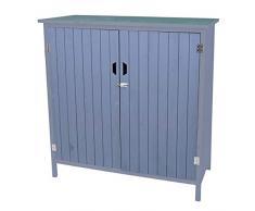 Mendler Geräteschrank HWC-D56, Gerätehaus Gartenschrank Gartenschuppen 120x115x55cm ~ grau