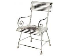 Casa Padrino Gartenstuhl aus Schmiedeeisen - verschiedene Farben - 44 cm x 54 cm - Luxus Gartenmöbel, Farbe:weiß