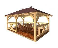 Holzpavillon verzapft mit Handlauf, Walmdach