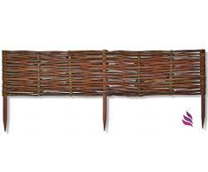 Floranica® Beeteinfassung, Weiden-Zaun, Steckzaun in 25 Größen, imprägniert mit Buchepflöcke für längere Haltbarkeit, Beet-Umrandung, Weg-Abgrenzung, Länge:1 STK. x 100 cm, Höhe:20 cm