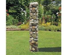bellissa Gabionen-Steinsäule rund - 95545 - Dekorative Gabionensäule für den Außenbereich - Durchmesser 25 cm, Höhe 180 cm