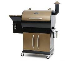 BBQ-Toro Pellet Smoker Grill PG1 | vollautomatisch Räuchern | Schwarz - Gold | Pelletgrill inkl. Abdeckhaube | Holzpelletgrill
