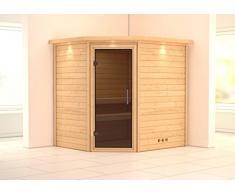 Massivholzsauna / Ecksauna Mia Modern 38mm Dachkranz ohne Saunaofen