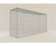 Steinkorb-Gabione eckig, Maschenweite 5 x 5 cm, Tiefe 50 cm, Anbaukorb Typ 3, Spiralverschluss, galvanisch verzinkt (200 x 100 x 50 cm)