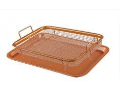 Nuovva Copper Crisper Backblech mit Grillkorb, Antihaft-Backblech, Kupfer, 2-teiliges Set