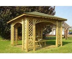 Stan-Wood 3m x 3m (Außenmaß 3,5m) HOLZPAVILLON MIT HOLZDACH, PAVILLON MIT RANKGITTER