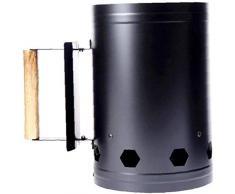 KONFA Edelstahl Holzkohle Charcoal Barrel, Anzünden Charcoal Eimer Barrel Grill Anzünder Barbecue-Feuer-Starter Bucket,Schwarz