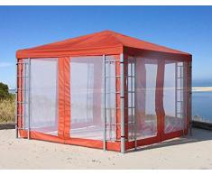 QUICK STAR Rank Pavillon Set 3x3m Terra mit 4 Moskitonetz Seitenteilen Metall Partyzelt Garten