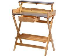 dobar 57015e Großer Pflanztisch mit 2 verzinkten Metall-Arbeitsflächen und praktischer Schublade, zusammenklappbar, 80 x 40 x 100 cm