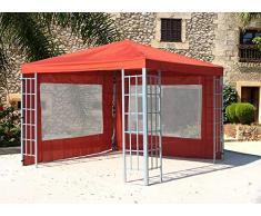 QUICK STAR Rank Pavillon Set 3x3m Metall Garten Partyzelt Terra mit 2 Seitenteilen mit Fenster