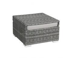 greemotion Hocker Bari mit Tablettfunktion anthrazit, inlusive Auflage in Grau, Halbrundgeflecht aus Polyethylen, Gartenhocker als Tisch umfunktionierbar, Rattanhocker passend zur Serie Bari