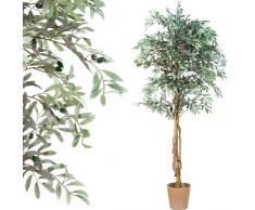 Oliven Baum, Echtholzstamm, Kunstbaum, Kunstpflanze , Dekobaum - 180cm