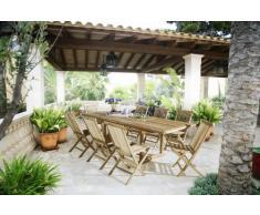 SAM 9tlg. Gartengruppe Kuba, Gartenmöbel aus Teak-Holz, 8 x Hochlehner Menorca, Auszieh-Tisch