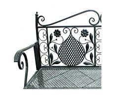 Edle Parkbank aus Eisen Gartenbank 107cm 2-Sitzer Antik Design Sitzbank im Landhausstil Grau