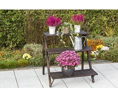 gartenmoebel-einkauf Pflanztreppe mit 3 Stufen 80x80x81cm, klappbar, Stahl + Polyrattan Geflecht braun
