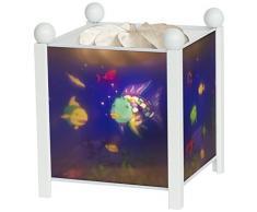 Trousselier - Regenbogenfisch - Nachtlicht - Magische Laterne - Ideales Geburtsgeschenk - Farbe Holz weiß - animierte Bilder - beruhigendes Licht - 12V 10W Glühbirne inklusive - EU Stecker