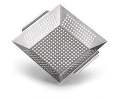 Blumtal Grillkorb aus 100% Edelstahl - perfekt für Grillgemüse, Grillschale geeignet für alle Grillarten, 29,5 x 29,5 x 6 cm (Large)