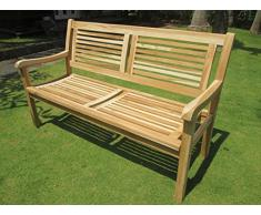 Trendy-Home24 Stabile 3-Sitzer Teakholz Bank Salvador Massivholz Holzbank Gartenbank Sitzbank ca. 150 cm breit